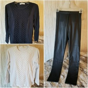 ZARA // bundle (3) l/s tee & faux leather leggings